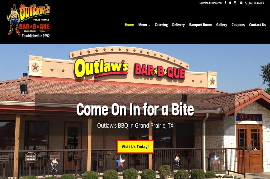 Outlaws BBQ Website Preview