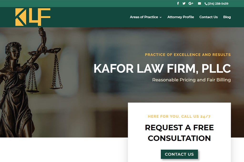 Kafor Law Firm, PLLC website Preview
