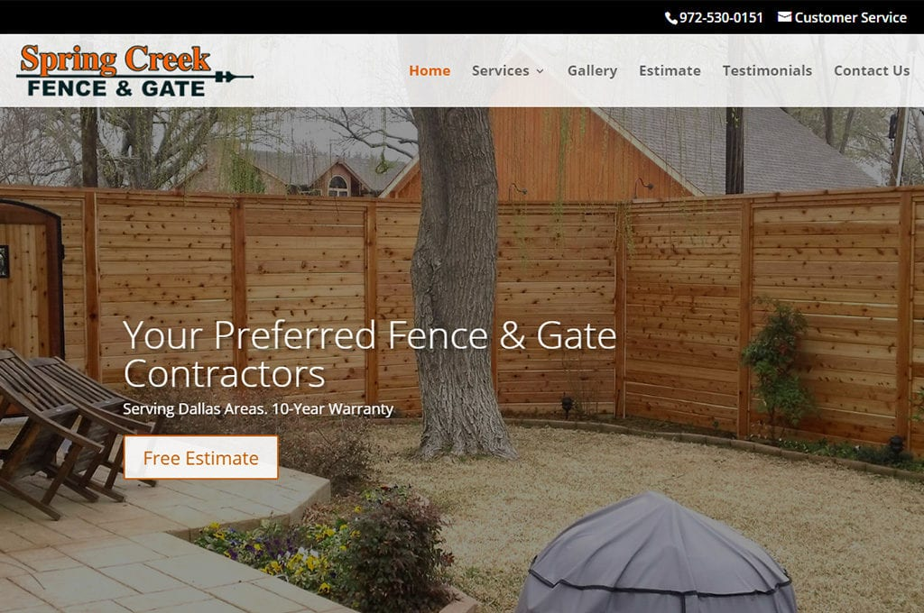 Spring Creek Fence & Gate website Preview